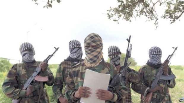 Al Shabaab's military spokesman Sheik Abdul Asis Abu Muscab issues a statement south of capital Mogadishu